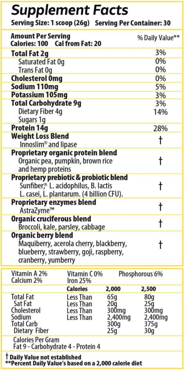 Supplement Facts Protein Infused
